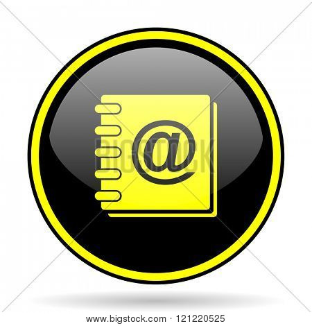 address book black and yellow modern glossy web icon