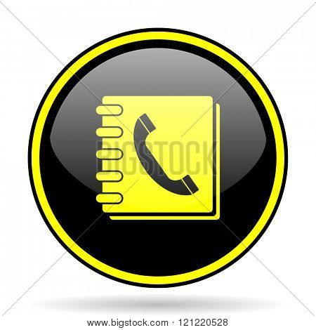 phonebook black and yellow modern glossy web icon