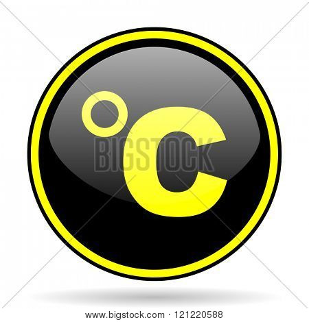 celsius black and yellow modern glossy web icon