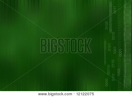 Binary numbers against a green background built of lines and shapes