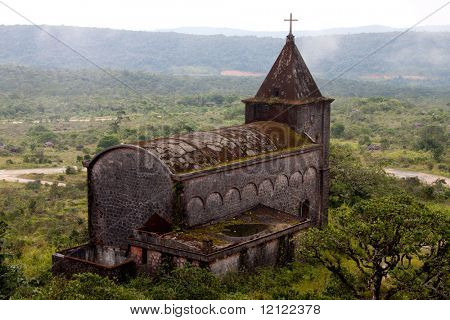 The ruins of a 19th century French Catholic church at Bokor National Park, Kampot, Cambodia