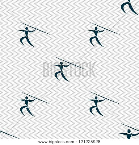 Summer Sports, Javelin Throw Icon Sign. Seamless Pattern With Geometric Texture.