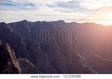 Volcanic mountain range on La Palma island