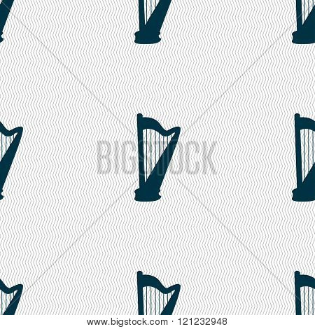 Harp Icon Sign. Seamless Pattern With Geometric Texture.