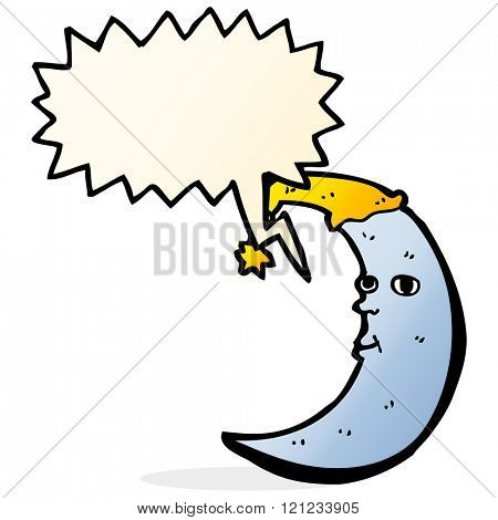 sleepy moon cartoon with speech bubble
