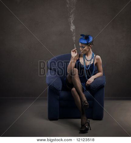 Fine art retro portrait of a lady with cigarette