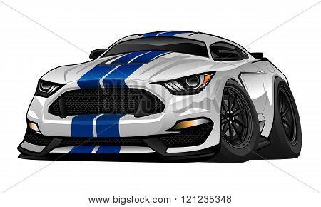 Modern American Muscle Car Cartoon Illustration