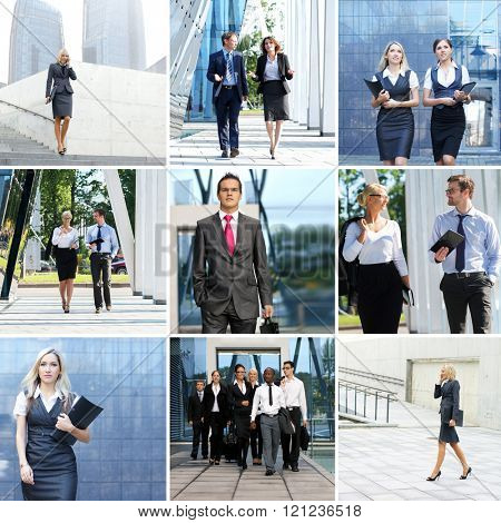 Collection of photos with many business people in formal wear walking outdoor.