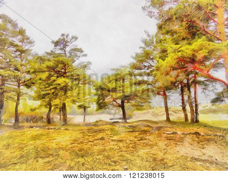 watercolor illustration of Altai Mountains, reserved land,  Clean streams, creeks and rivers, tall,