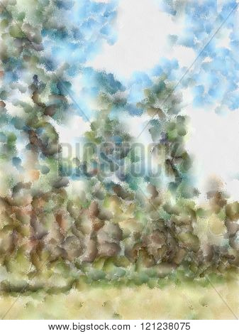 Watercolor Illustration Of Altai Mountains, Reserved Land, .clean Streams, Creeks And Rivers, Tall,