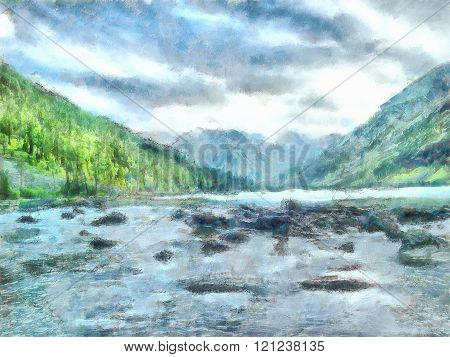 watercolor illustration of Altai Mountains, reserved land, 