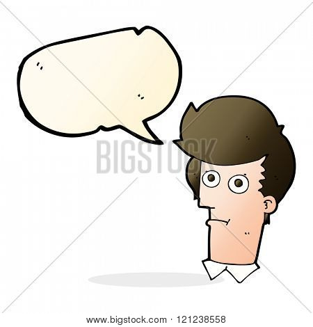 cartoon staring face with speech bubble