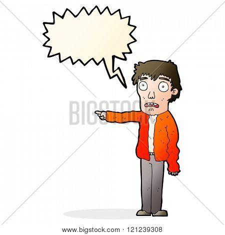 cartoon terrified man pointing with speech bubble