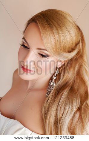 Beautiful Blond Fiance With Professional Make Up