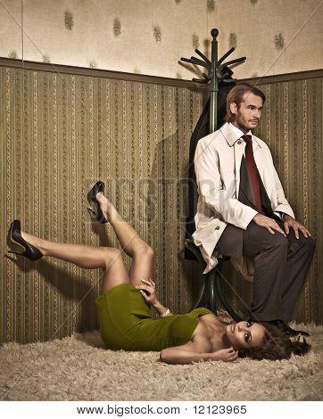 Foto de estilo glamour de um casal atraente