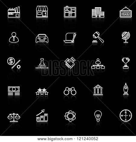Franchise line icons with reflect on black stock vector