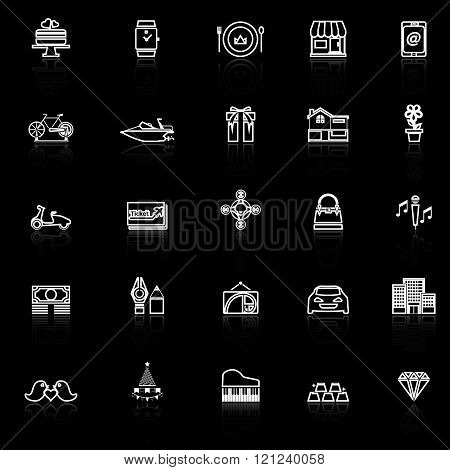 Birthday gift line icons with reflect on black stock vector