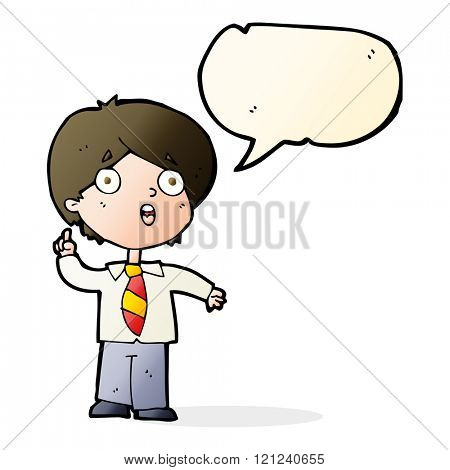 cartoon schoolboy answering question with speech bubble
