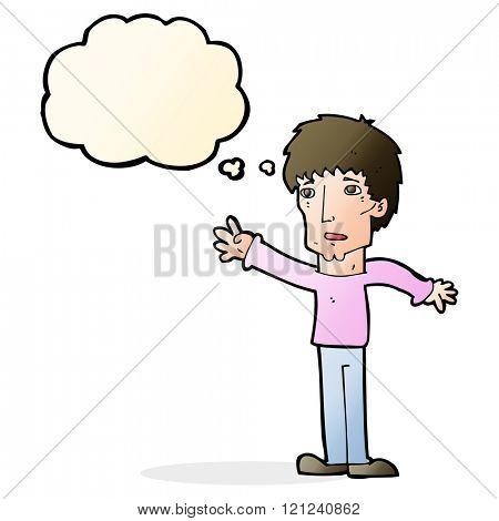 cartoon worried man reaching out with speech bubble