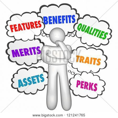 Features Benefits Qualities Selling Customer Thinking Thought Clouds