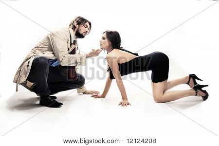 Man and woman in frivolous pose,isolated on white
