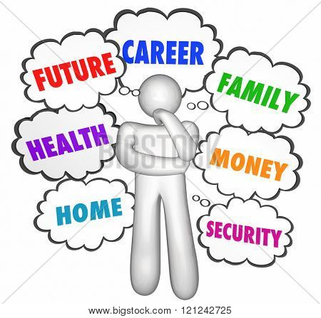 Careers Jobs Thinking Person Thought Clouds Options Words