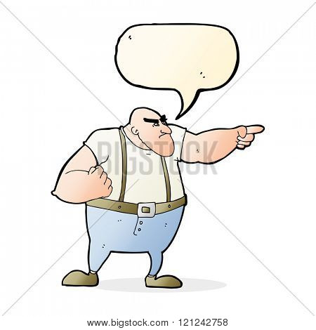 cartoon angry tough guy pointing with speech bubble