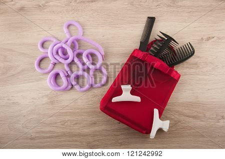 Hairdressing Set. Brushes, Curlers And Spins