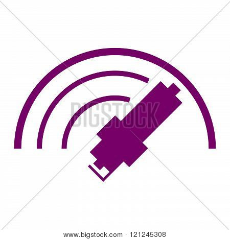 Car spark plug icon in lilac colour