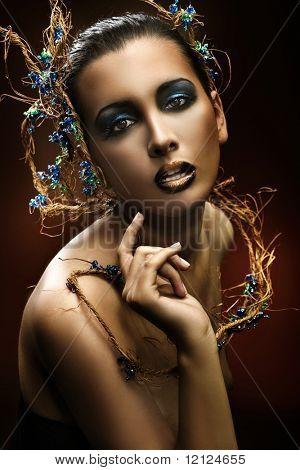 Gorgeous beauty potrait of an attractive brunette