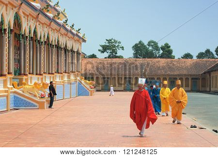 Monks, Cao Dai  Temple