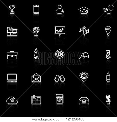 Job description line icons with reflect on black stock vector