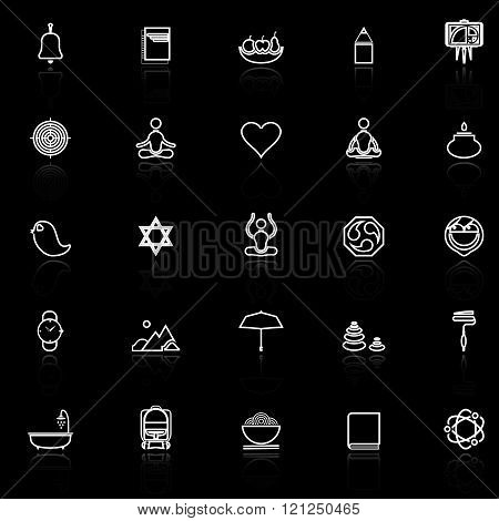 Zen society line icons with reflect on black stock vector