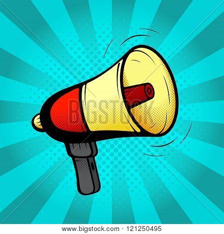 Loudspeaker or megaphone in retro pop art style