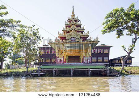 Ancient pagoda at Inle Lake in Myanmar