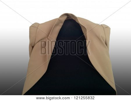 light brown coat cover a chair. coat and chair.