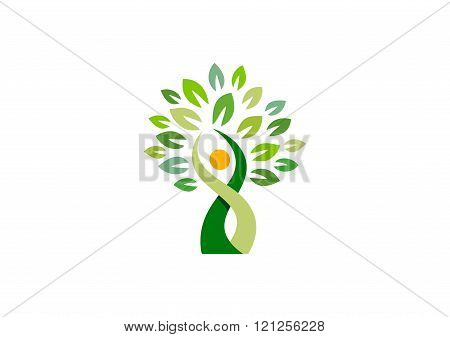 wellness, people, tree, logo, plant, health, human, nature, symbol icon vector design