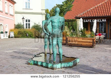 PRAGUE, CZECH REPUBLIC - Oct 22 2015: Peeing Statues, by Czech Sculptor David Cerny beside to the Mu