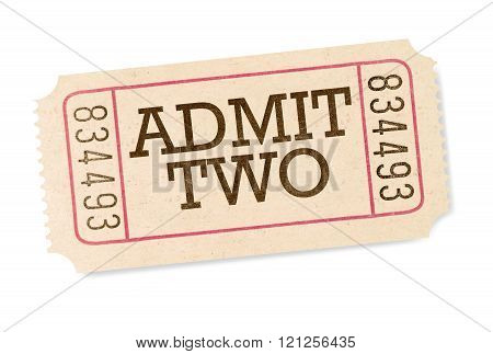 Admit two movie ticket isolated on white background