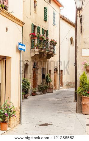 The streets of the old Italian city of Pienza, Tuscany