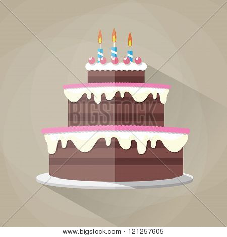Chocolate birthday cake icon