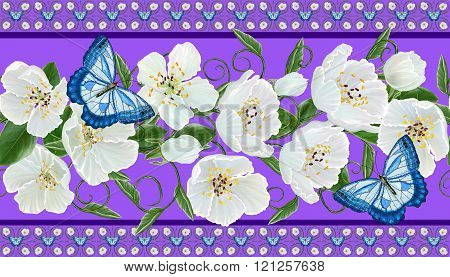 Horizontal Floral Border. Pattern, Seamless. Ornament Of White Flowers, Green Leaves And Beautiful B