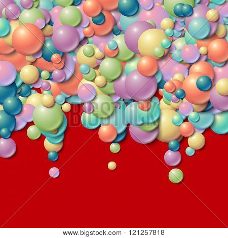 Background frame with scatterd messy glowing rubber balls