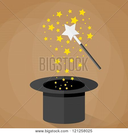 Magic hat and wand with sparkles stars