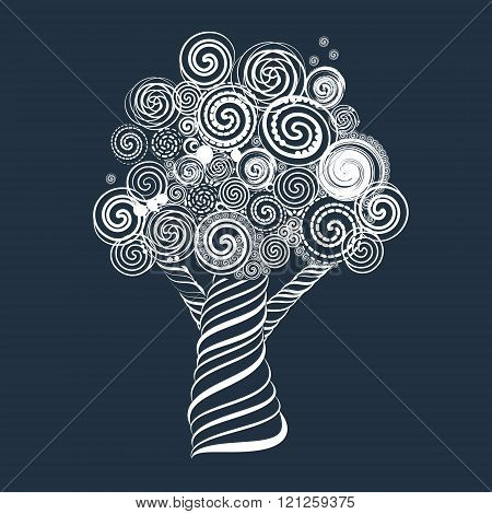 Fabulous Tree With Curls. Doodle Style. Vector Illustration.