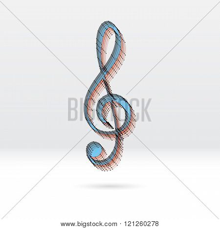 Transparent music key with dotted scheme