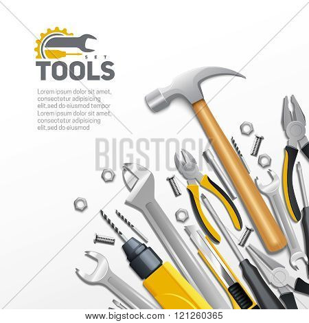 Carpenter Construction Tools Flat Composition Poster