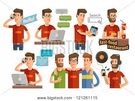 modern young people icons set. vector illustration