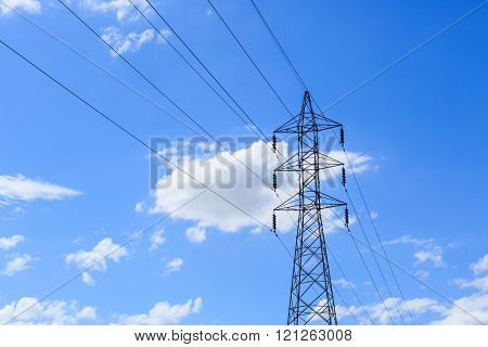 Electricity Pole On Blue Sky