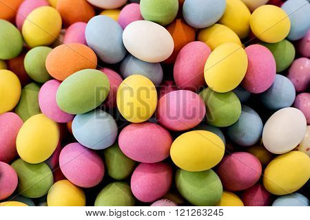 Background Of Colorful Chocolate Easter Eggs